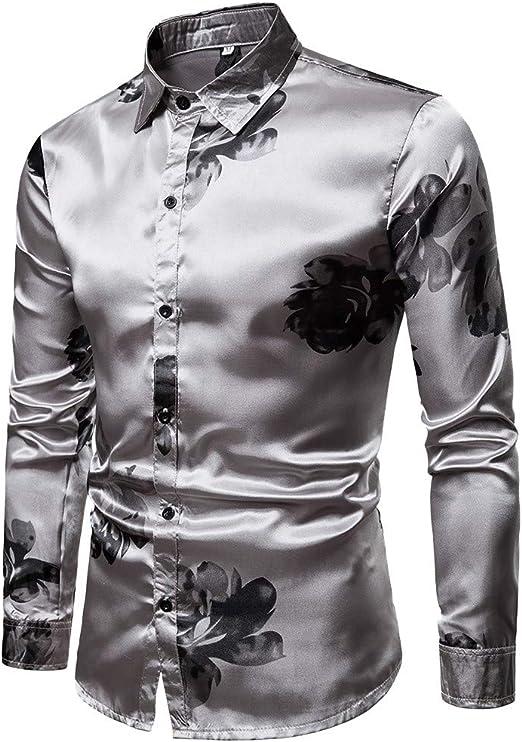 Mens Floral Print Slim Fit Long Sleeve Casual Button Down Shirt Allywit Men Shirt