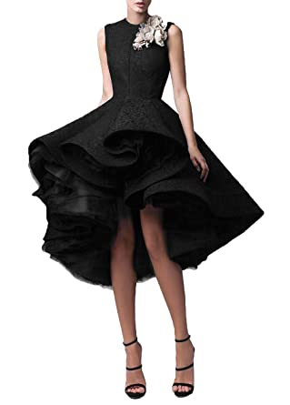 DYS Womens Lace Hi-Lo Prom Dress Short Jewel Evening Party Gowns Black ...