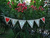 LOVE Burlap - Wedding Banner - Engagement Wedding Home Décor - Valentine Burlap With Red Heart on The Edges- Bridal Shower Banner-Rustic Wedding Garland-Engagement Party Décor-Wedding Heart Bunting