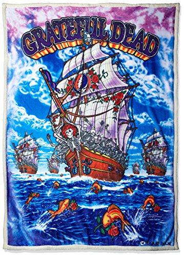 "hot sale 2017 Liquid Blue Men's Grateful Dead Ship of Fools Warm Coral Fleece Throw Blanket, Multi, 50"" X 60"""