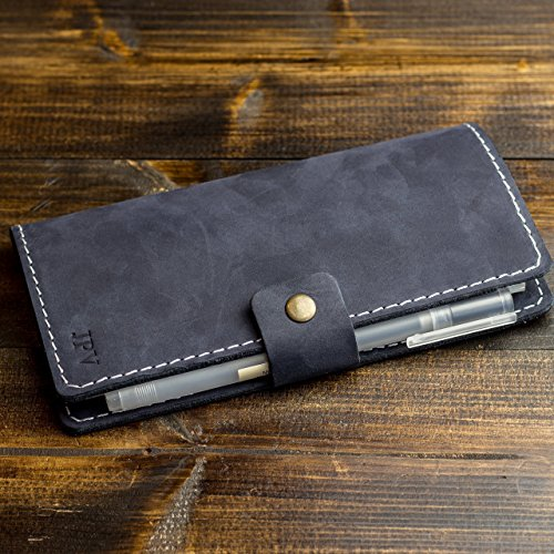 Pegai Personalized Checkbook Cover, Distressed Leather Checkbook Wallet, Checkbook Case - Clark | Navy Blue White Thread
