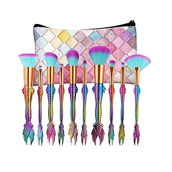 COSHINE Mermaid Makeup Brush Set, 10pcs Rainbow Unique Mermaid Makeup Brush Set with Colorful Brushes Pouch, Unicorn… 3