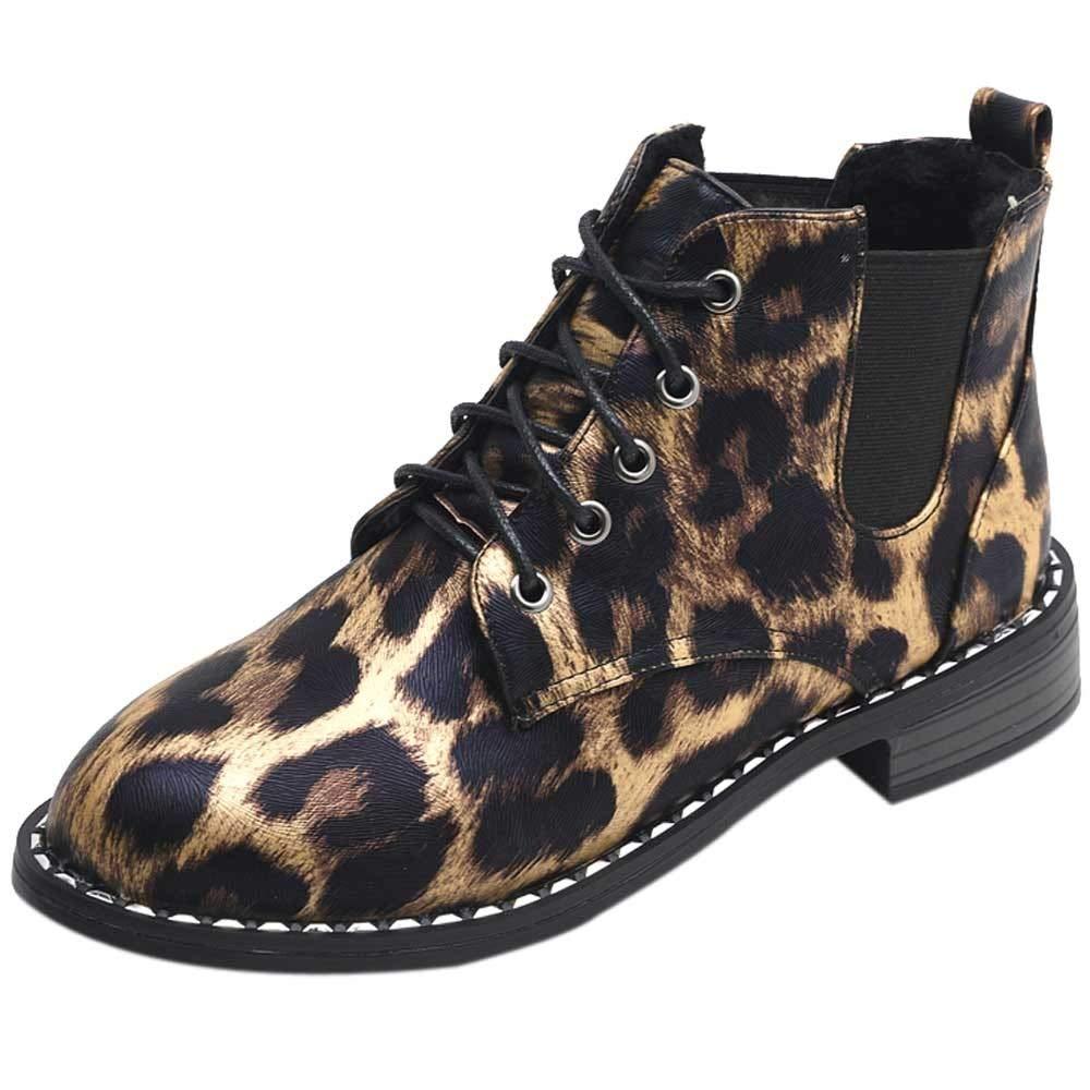 Waterproof Bottines de Randonnée Femme Imprimé léopard Bottes à Lacets Hiver Chaussures Plates Martin Boots LuckyGirls Antidérapantes Chaussures Plates à Lacets en Plein Air