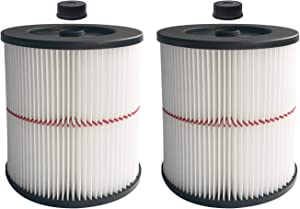 Aliddle 2 Pack Vacuum Cartridge Filter for Craftsman 17816, Fit 5 Gallon & Larger Vacuum Cleaner
