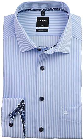 OLYMP Camisa para hombre Luxor moderna, azul y blanco a rayas con contraste (1336.64.11)