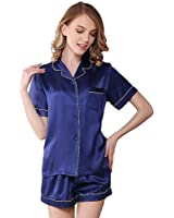 NANJUN Women's Satin Pajamas Sleepwear Long and Short Button-Down Pj Set