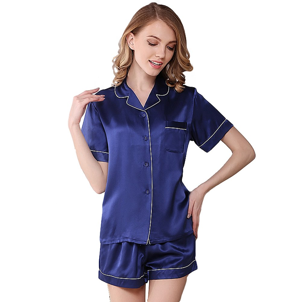 NANJUN Women's Satin Pajamas Sleepwear Short Button-Down Pj Set(Navy,m)