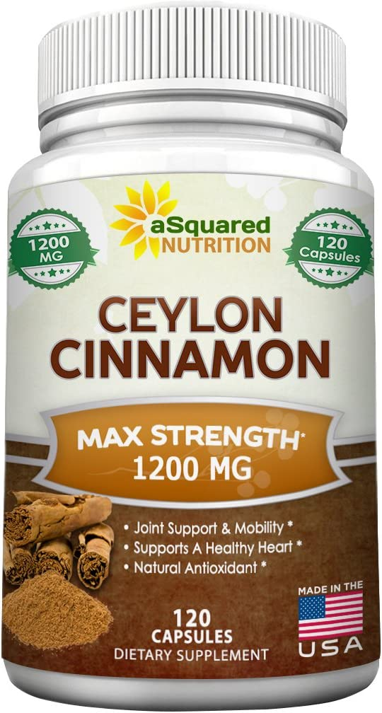 Pure Natural Ceylon Cinnamon 1200mg - 120 Capsules, True Cinnamon from Sri Lanka, Extract Supplement Pills Promote Heart Health, Weight Loss, Lower Blood Sugar Levels, Reduce Inflammation Joint Pain