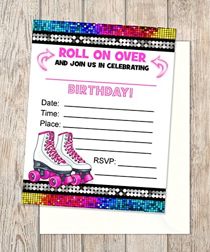 Rollerskates Fill In Blank Invitations Flat Cards Set Of 20 Pink Roller Skates Birthday Party With Envelopes Skating Card