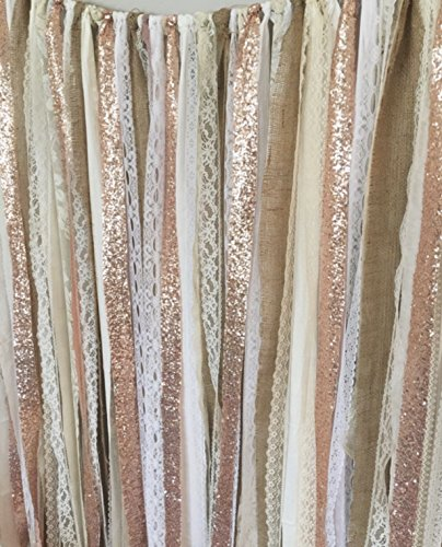 Rose Gold Sequin Garland Backdrop. 5x6 - Rustic Chic Wedding, Curtain, Baby Shower, Party Decorations by ohMYcharley