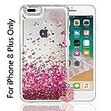 KC Liquid Unique Floating Hearts & Glitter Sparkle Transparent Case, Soft Sides for iPhone 8 Plus Back Cover - Pink Colour