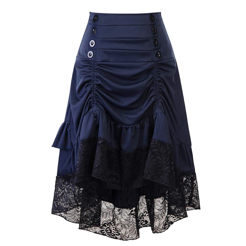 Modaworld carnevale Renaissance Vestiti da Donna Autunno e Inverno retr/ò Cucitura Borsa Pizzo Gonna Hip