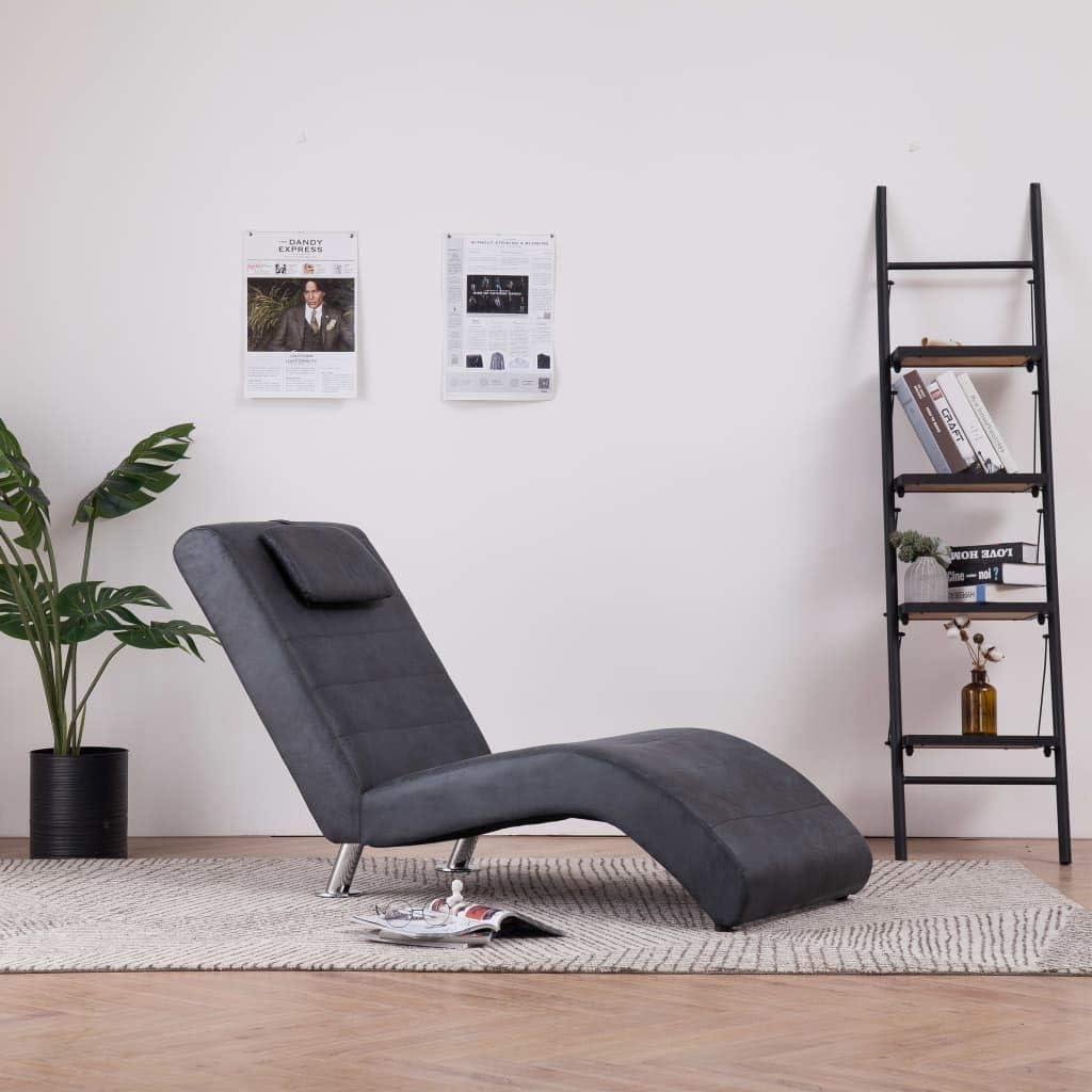 Sillón Relax de Piel de Ante Artificial con Almohada Gris 144 x 59 x 79 cm