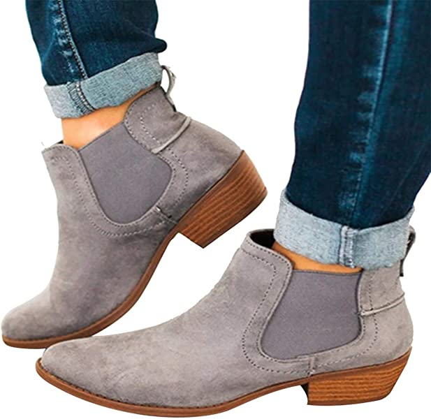 821748df1c3 Amazon.com: Womens Ankle Chelsea Boots Casual Fall Suede Booties ...