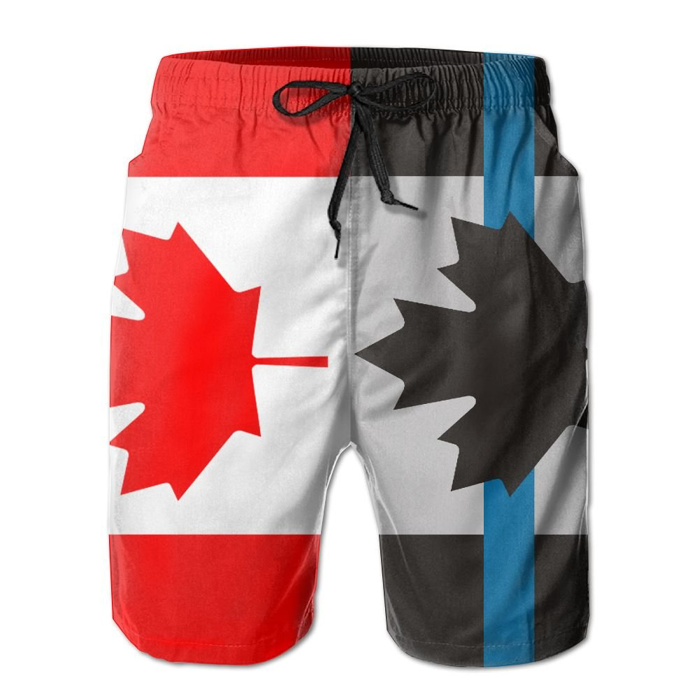 Men Summer Police Thin Blue Line Canada Flag Quick Dry No Mesh Lining Beach Shorts Cargo Shorts PB-ZINAN