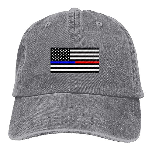 Thin Blue Red Line American Flag Adjustable Cotton Hat (Ashes Of American Flags Dvd)