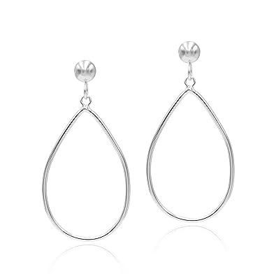 06c7139479d11 Sea of Ice Sterling Silver Open Teardrop Dangle Hoop Earrings 5mm Bead Post  Dangle Earrings for Women Girl