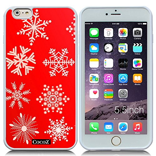 New Apple iPhone 6 s Plus 5.5-inch CocoZ® Case Beautiful Christmas Snow TUP Material Case (Red&White TPU Snowflake 3) (Grinder Peony Coffee)