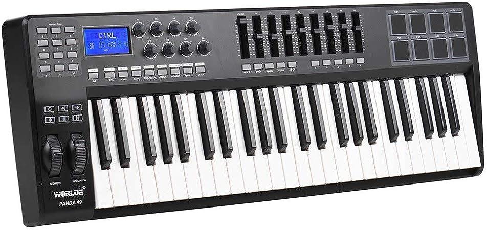 Asdomo PANDA49 Controlador de teclado MIDI USB de 49 teclas ...