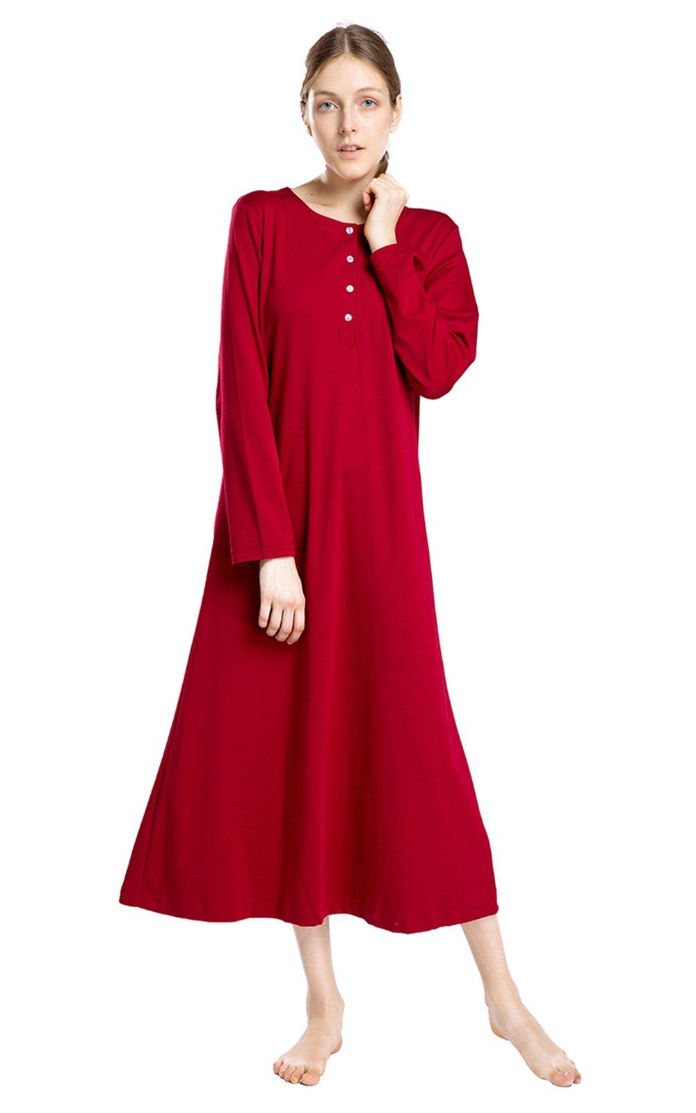 lantisan Cotton Knit Long Sleeve Nightgown for Women, Henley Full Length Sleep Dress, WineRed L