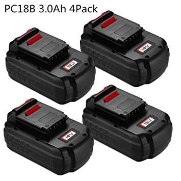 4pack 3 0ah Ni Cd Replacement For Porter Cable 18v Battery Pc18b