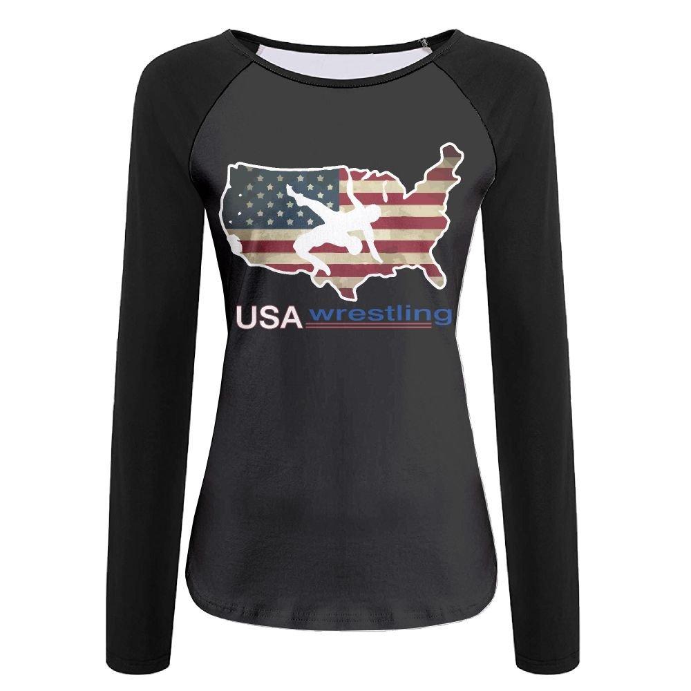 LOGZDRll Women's USA Wrestling Graphic Long-Sleeve T-Shirt by LOGZDRll