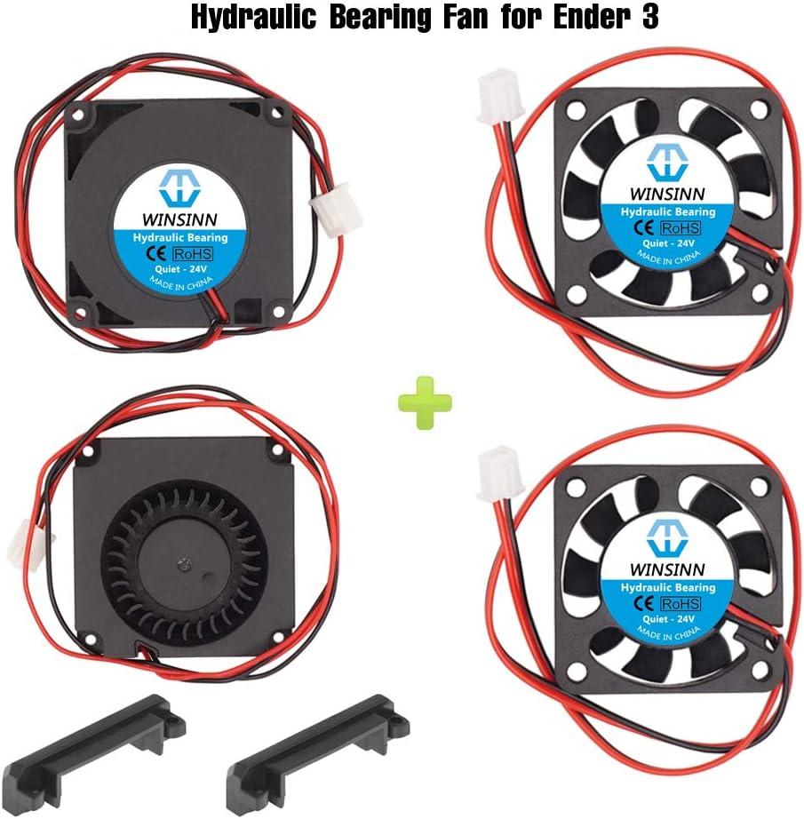 WINSINN soplador de ventilador de 24 V 40 mm para enfriamiento Ender 3/Pro Turbine Turbo 40 x 10 mm 4010 DC sin escobillas, con piezas de guía de aire, alta velocidad (paquete de 4 unidades)