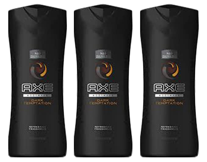 Pack of 3 Axe Dark Temptation Scent Cleansing Body Wash Refreshing Fragrance 16 Oz