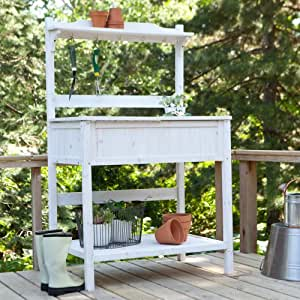 Coral Coast Coral Coast Gardener's Choice White Wash Potting Bench, Wood, 36.5L x 24W x 60H in.