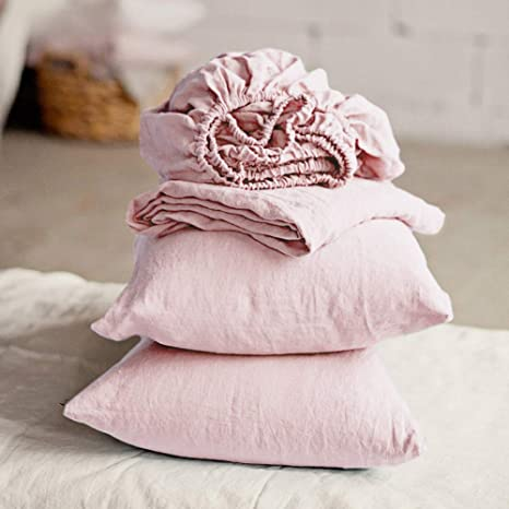 Pure French Linen Sheet Set Fitted Flat Sheet Set Natural  King Size