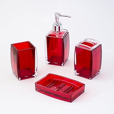 JustNile 4-Piece Bathroom Accessories Set, Includes Decorative Countertop Soap Dispenser, Dish, Tumbler, Toothbrush Holder, Resin Vanity Ensemble Set for Bathroom, Powder Room, Kitchen