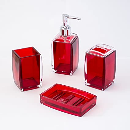 4 Piece Bathroom Accessories Set, Includes Decorative Countertop Soap  Dispenser, Dish, Tumbler
