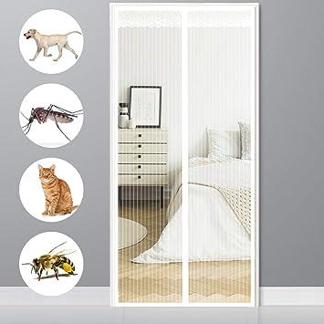 Convient pour Couloirs//Patio Moustiquaire magn/étique Fermeture Automatique Blanc 47x94inch CHENG Moustiquaire Porte Magn/étique Anti Insecte Mouche Moustique 120x240cm