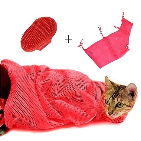 AIDIYA] Bolsa de Malla Ducha Anti Rascar para Mascota Gato para Animal Doméstico (Rosa