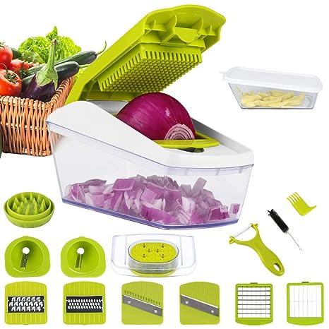 Mandolina de Cocina Cortador de Verduras 14 in 1 Mandolinas de Verduras Utensilios de Cocina Profesional Rallador de Verdura Corte de Vegetales Multi ...
