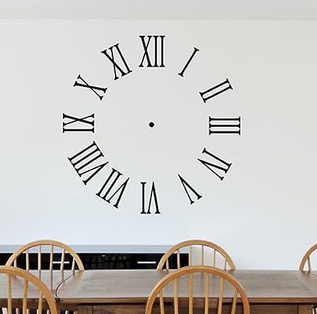 Amazoncom Roman Numeral Wall Clock Wall Decals Stickers Black - Wall decals clock