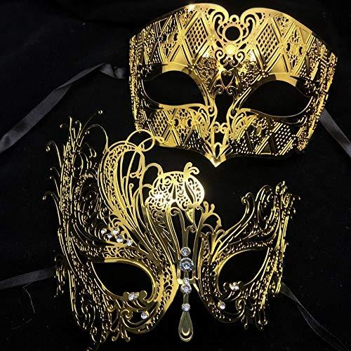 Morrenz - Phantom Metal Laser Cut Couple Party Mask Lot Filigree Wedding Venetian Masquerade Ball Mask Lover Costume Set [ Gold ]