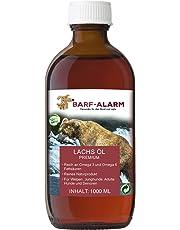 Premium Lachsöl für Hunde 1 Liter mit Omega 3 und Omega 6 Fettsäuren – Fischöl für den Hund – Barf Lachs für Welpen Adulte Senioren & Sporthunde