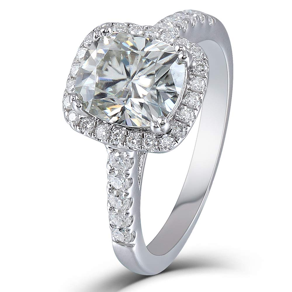Platinum Plated Silver Center 2ct 7x8mm Grey Tinted Cushion Cut Moissanite Halo Engagement Ring With Accents