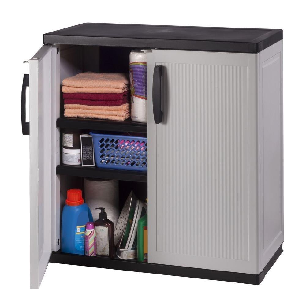 Amazon Com Hdx 35 In W 2 Shelf Plastic Multi Purpose Base Cabinet