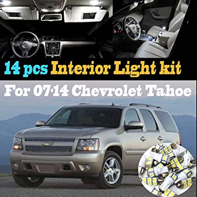 14Pcs 6000k White Interior LED Light Bulb Kit Package Compatible for 2007-2014 Chevrolet Tahoe: Automotive
