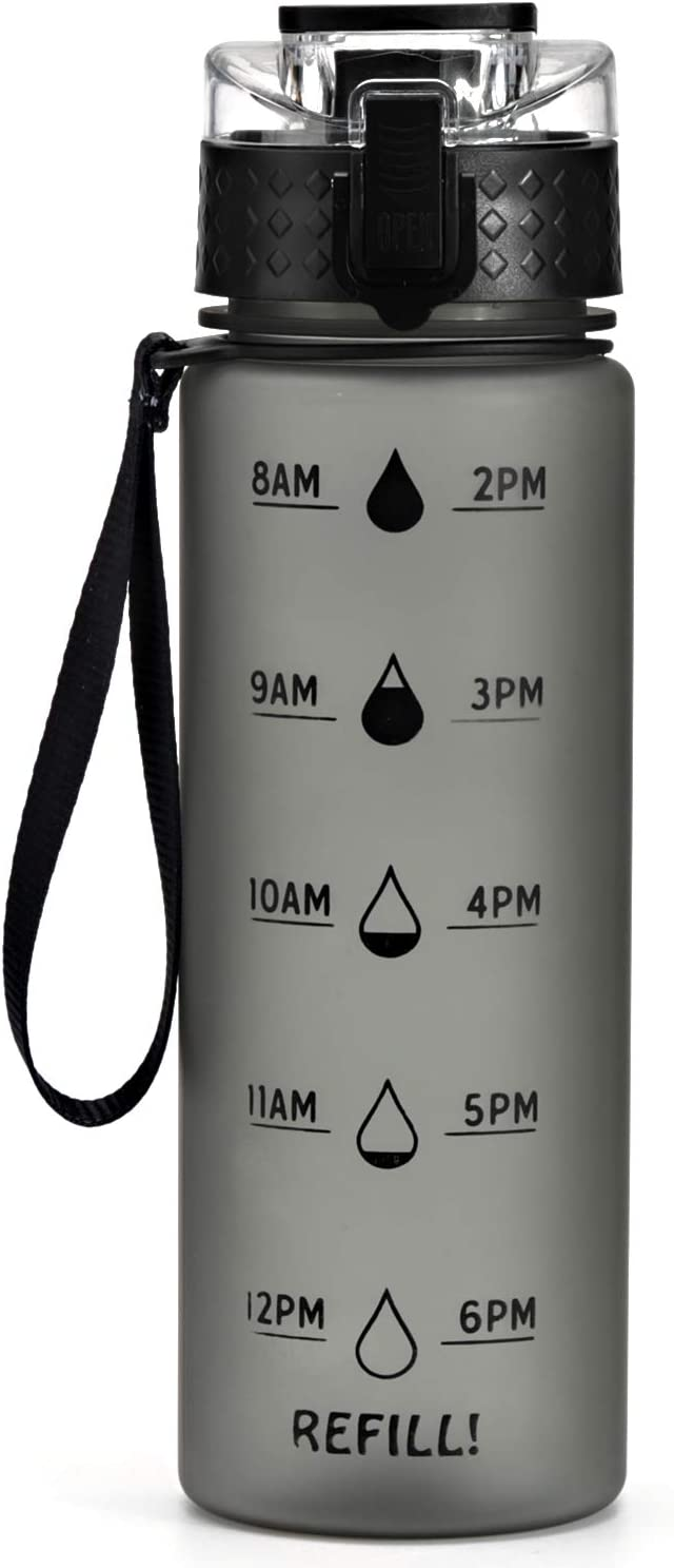 OSVAW Water Bottle 25oz with Time Marker & Inspirational Sentences for Fitness and Outdoor Enthusiasts,100% BPA-Free PETG Material, No Toxins