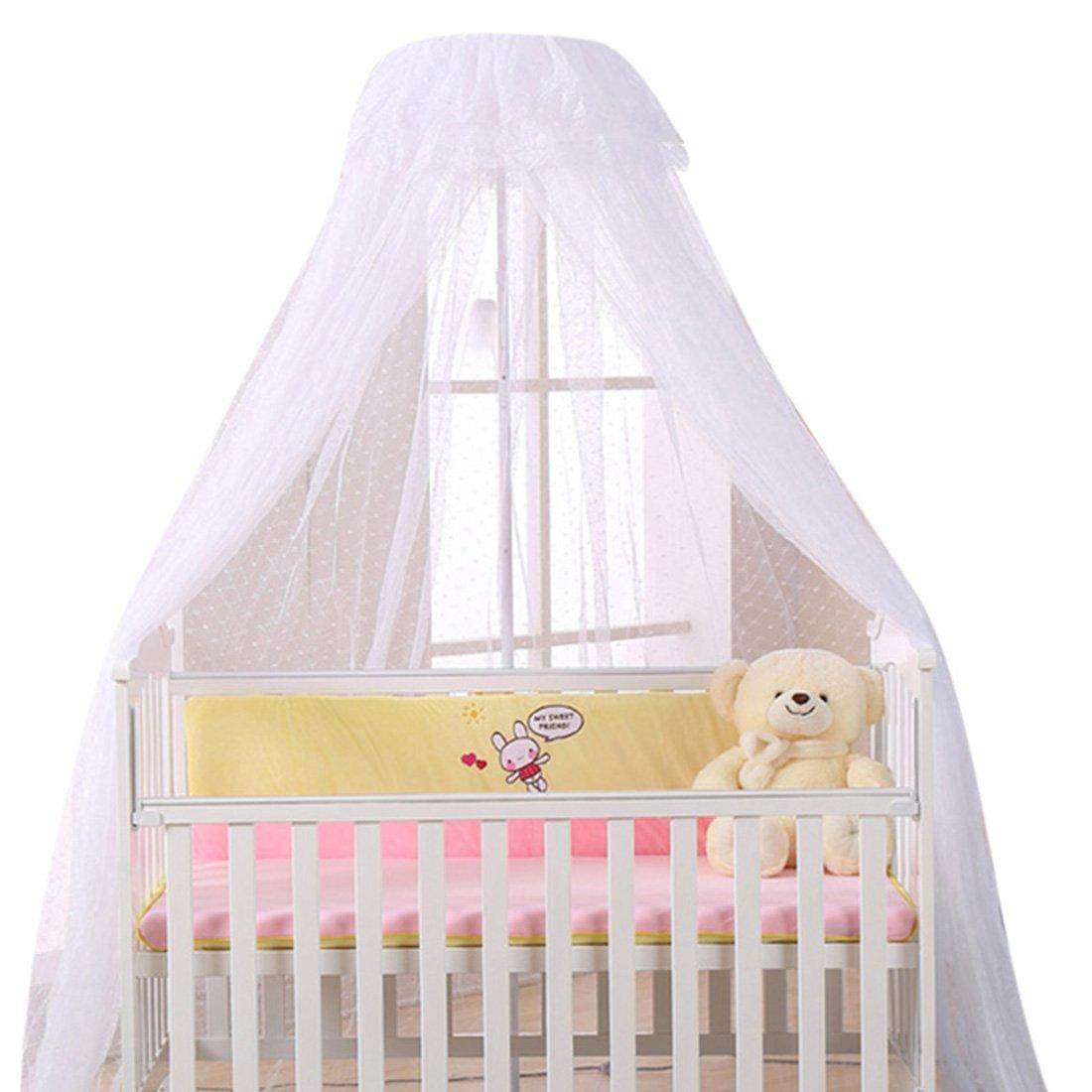 Jiyaru Baby Mosquito Net Lace Dome Nursery Netting Toddler Bed Crib Canopy White Net + Holder