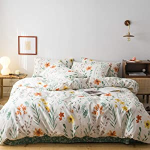MICBRIDAL Garden Red Yellow Floral Duvet Cover Full/Queen Soft 100% Cotton Floral Green Leaves Pattern Bedding Set with 2 Pillowcases Chic Botanical Floral Comforter Set with Zipper Closure 4 Ties