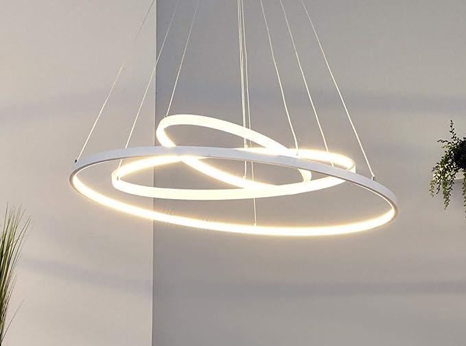 Lampade A Sospensione Led : Lampada a sospensione led bianchi con grazilen anelli in metallo e