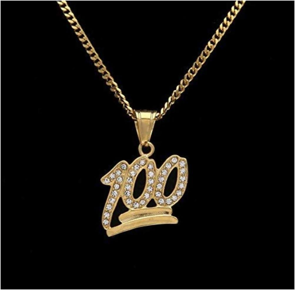 Cadena de Oro 100 Iced out Bling Rhinestone Crystal Hombres Hip Hop Collar Colgante Cadena de eslabones cubanos Supreme CZ Diamantes Emoji de Oro 100 Logo Colgante Acero Inoxidable