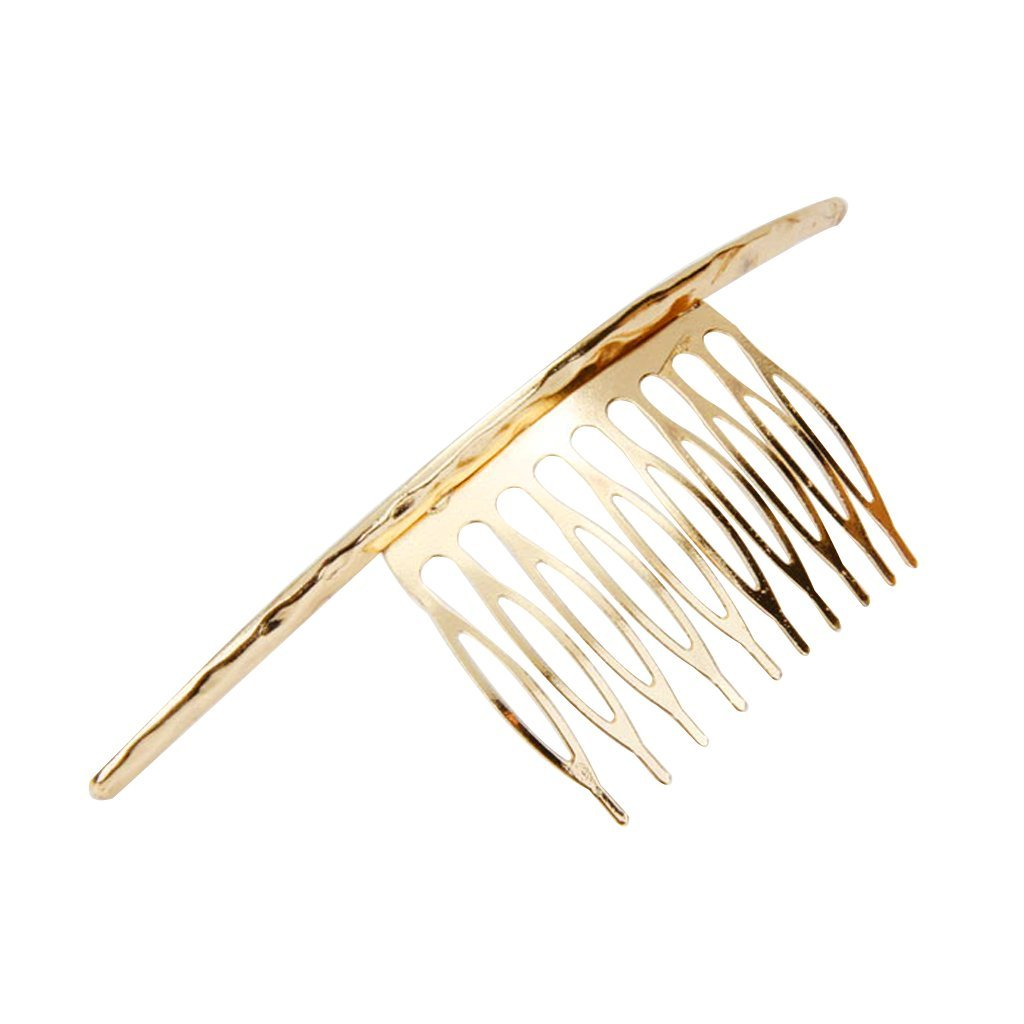 Long Bent-Shape Hair Side Comb Clip Women's Hair Styling Accessory Gold Generic STK0156001356