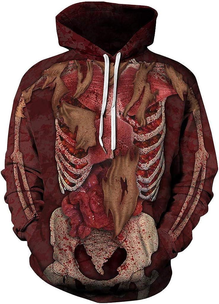 Eoeth Couples Hooded Long Sleeve Outwear Halloween 3D Print Tracksuits Drawstring Windbreaker Hoodie Pullover Sweatshirt