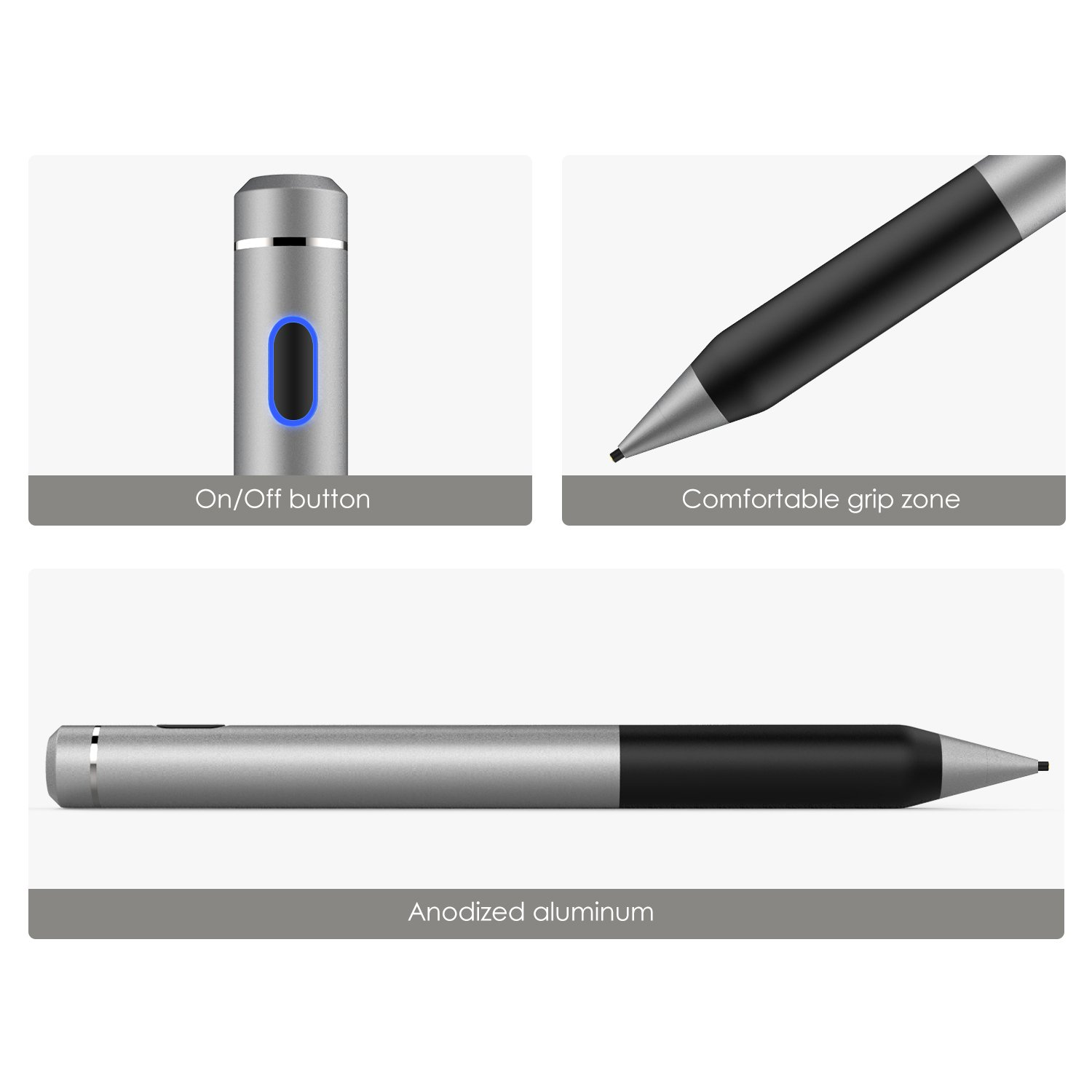 MoKo Active Stylus Pen, High Precision and Sensitivity Point 1.5mm Capacitive Stylus, for Touch Screen Devices Tablet/Smartphone iPhone X/ 8/8 Plus, iPad, Samsung Galaxy S9/ S9 Plus (Dark Gray) by MoKo (Image #6)