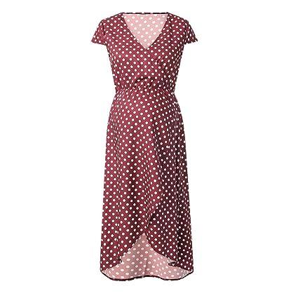 0a7a1978f2a9b Amazon.com: ❤ Mealeaf ❤ Womens Fashion Sexy Maternity Dot V Neck Short  Sleeve Long Dress(Red,S/M/L/XL/2XL): Home & Kitchen